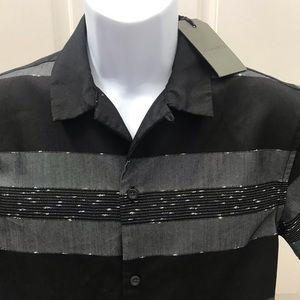 NEW wTag-ALL SAINTS Black Gabon Button Shirt Sz S